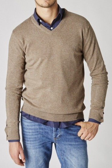Pull Triomphe Taupe Chiné col V