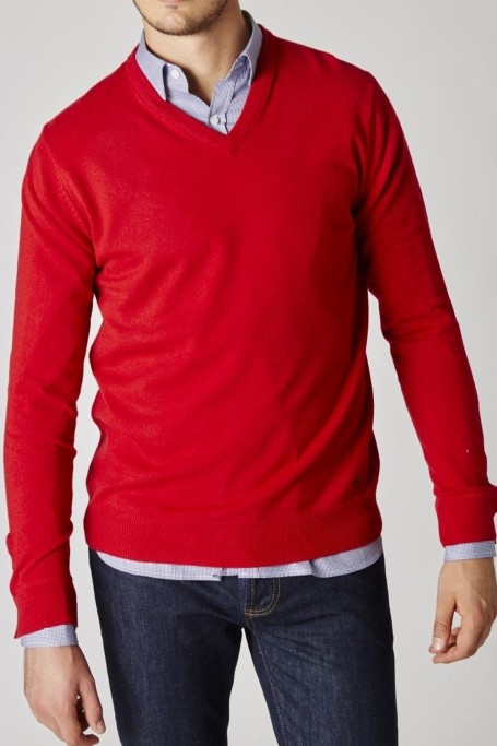 Pull Triomphe Rouge col V (1)