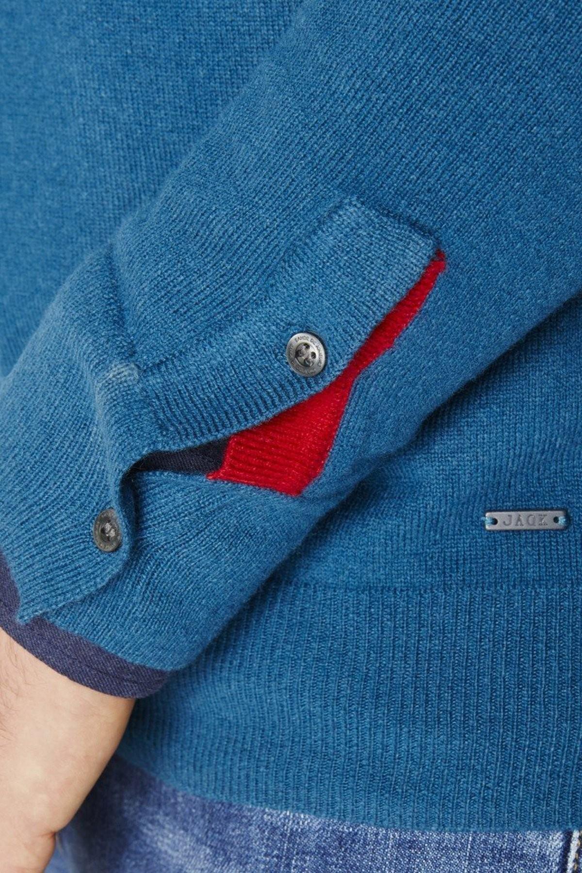 Pull Triomphe Bleu Pétrole boutons