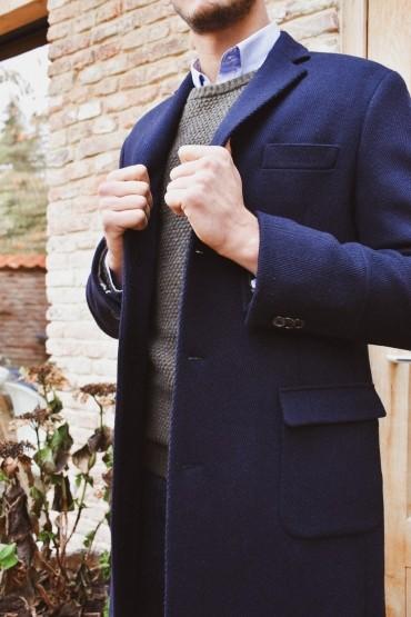 Manteau laine chevron...