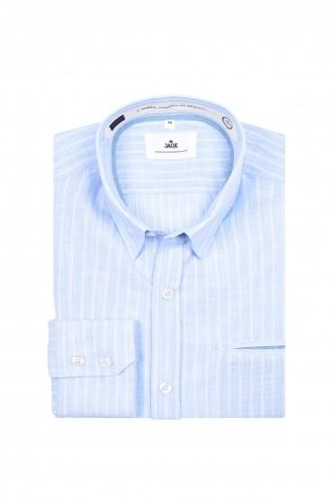 Chemise bleue rayée blanche...