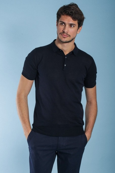 cd885229 JAQK criterium polo, 100% cotton navy mottled polo shirt, mercerized ...