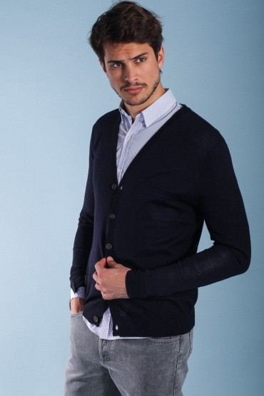 Navy cardigan merino whool...