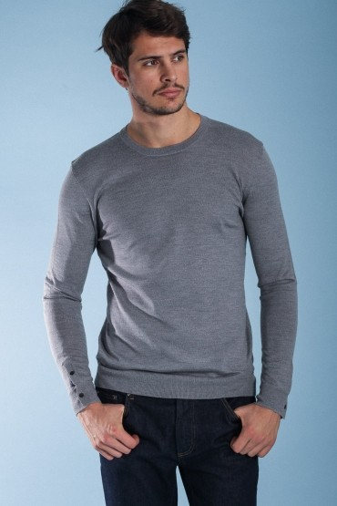 Pull Damier gris chiné