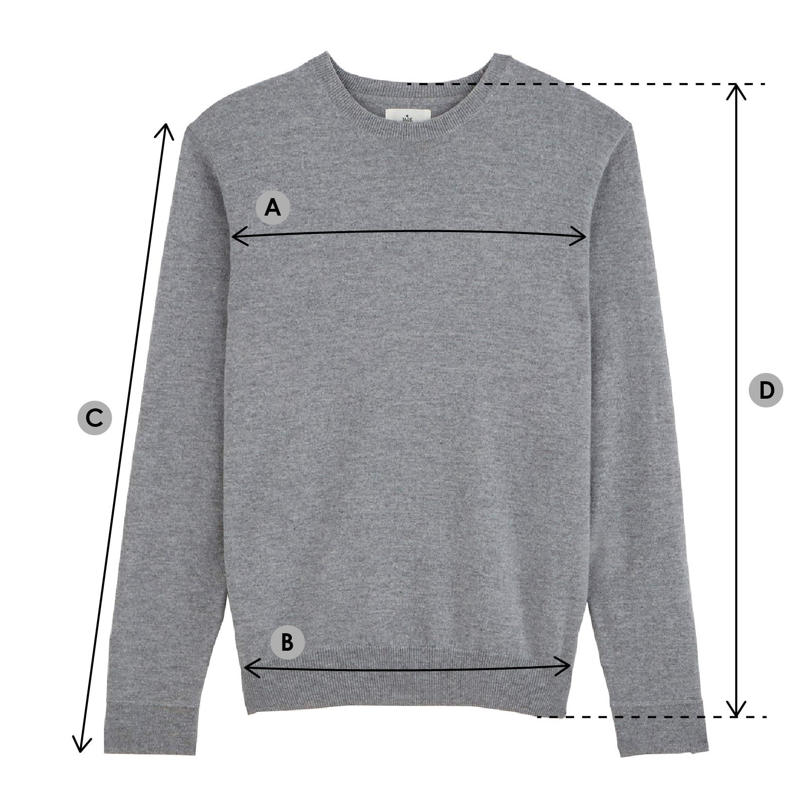 Le pull guide tailles