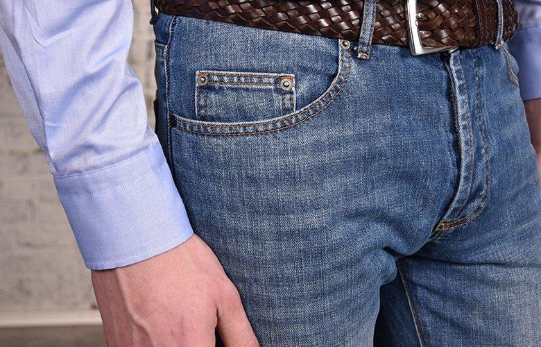 Zoom produit jean bleu lavé