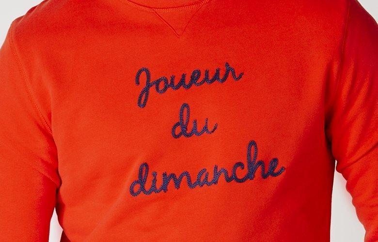 Zoom matiere sweat Joueur du Dimanche Rouge