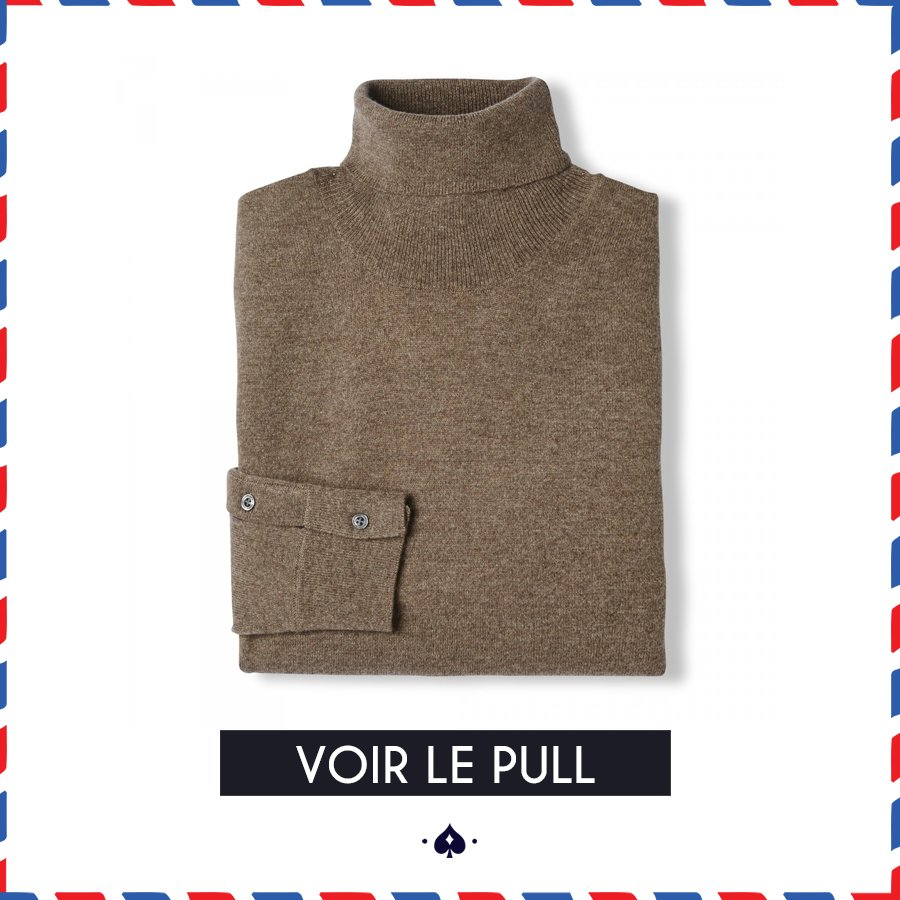 Pull col roulé Figaro taupe